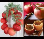 Может яблоки это и не новогодний фрукт, но венок из яблок и яблочная чашка - смотрятся очень празднично.