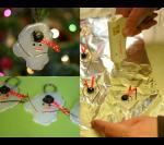 Клей, темные бусинки для глаз, длиная оранжевая бусинка для морковки, вместо головного убора можно сделать бумажный кулек.